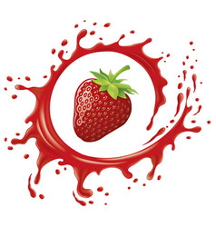 fresh strawberry with splash and many juice drops vector image