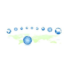 global spheres on a map vector image