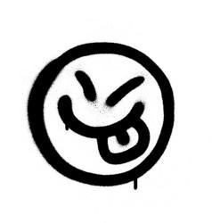 Graffiti happy emoji sprayed in black on white vector