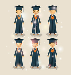 group of male students graduates characters vector image