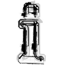 Grunge font letter i vector image
