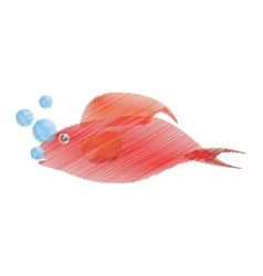 Hand drawing red fish half aquatic environment vector