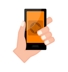 Hand holding a smartphone with a voice app vector
