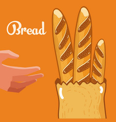 Hand with baguettes inside bag vector