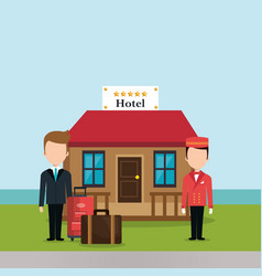 Hotel workers avatars characters vector
