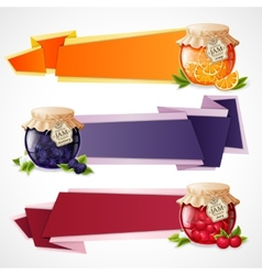 Jam origami banners set vector