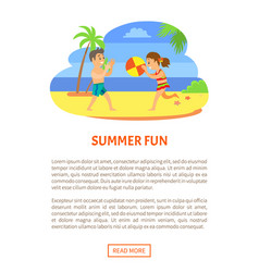 kids in trunks playing ball summertime holidays vector image