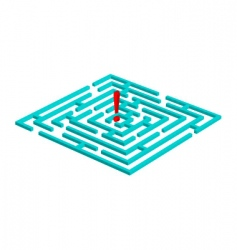 labyrinth with attention mark vector image
