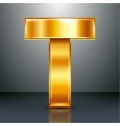 Letter metal gold ribbon - T vector