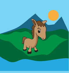 little horse cartoon vector image