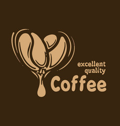 logo with coffee beans drawn on a dark vector image