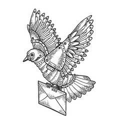 Mechanical mail pigeon bird animal engraving vector