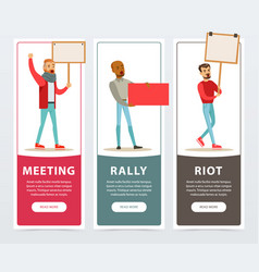 Meeting rally riot banners set men with picket vector