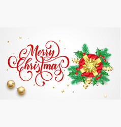 merry christmas greeting card holy and fir vector image