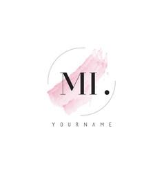 Mi watercolor letter logo design with circular vector