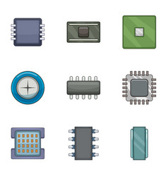 microchip icons set cartoon style vector image