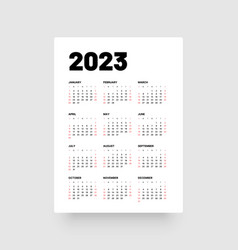 Monthly calendar for 2023 year week starts on vector
