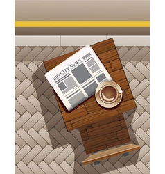 morning coffee and newspaper at street cafe vector image