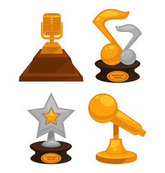 music awards made gold and silver contest vector image