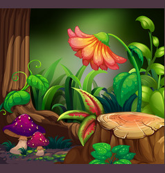 Nature scene with flower in dark forest vector