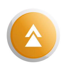 orange round button with up arrow symbol vector image