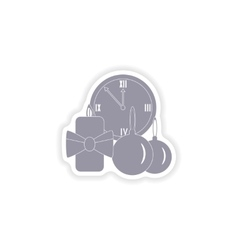 Paper sticker on white background watch candle vector