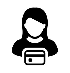 Payment icon female user person profile avatar vector