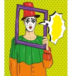 Pierrot picture frame pop vector