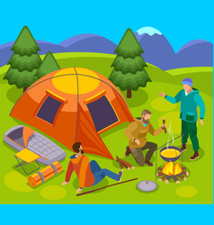 pitch camp outdoor composition vector image