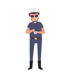 police officer on duty in the highway vector image