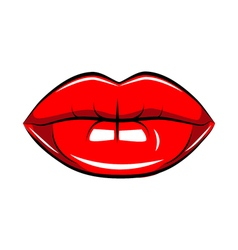 Pop art lips isolated Warhol style poster Black vector image