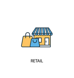 retail concept 2 colored line icon simple yellow vector image