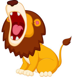 Roaring lion cartoon vector