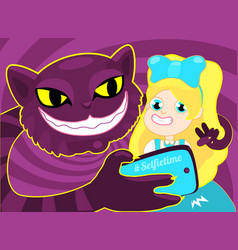 selfie time girl taking selfie with cat the vector image