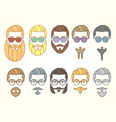 set hipster face with mustaches and beards vector image