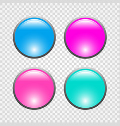 set of 3d round web buttons vector image