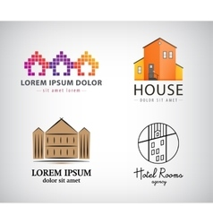 Set of house logos hotel apartment real vector