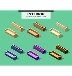 Set of isolated sofas with shadow in isometry vector