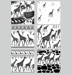 set seamless patterns with stylized giraffes vector image
