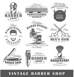 set vintage barbershop labels vector image