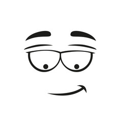 smirk smile isolated emoticon expression line art vector image