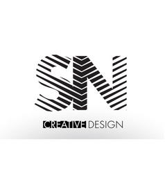 Sn s n lines letter design with creative elegant vector