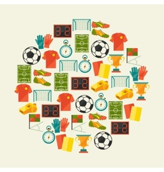 Sports background with soccer football flat icons vector