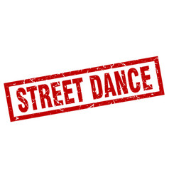 Square grunge red street dance stamp vector