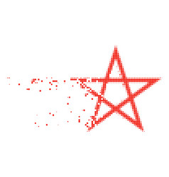 Star pentagram disappearing pixel icon vector