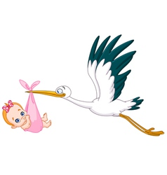 Stork and baby girl vector