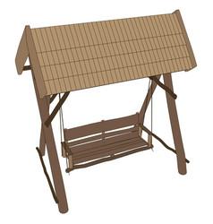 Swing bench garden furniture park outdoor porch vector