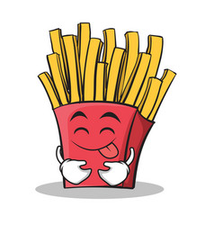 tongue out french fries cartoon character vector image vector image
