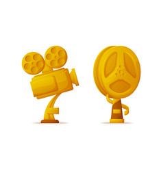 Trophy in form camera and bobbin reel icons set vector