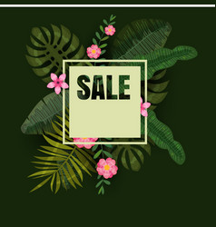 tropical sale design with bright flowers vector image
